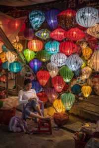 Hoi An, Vietnam, street, lantern, lanterns, lights, chinese, colorful, old, city, tourism, tourist,hat, bycicle,