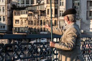 turkish, turkey, fisherman, bridge, street, galata, tower, old, back, hat, jacket, golden hour, action