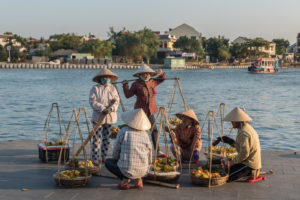 Hoi An, Vietnam, fruit, fruits, sellers, market, seller, local, people, traditional, hat, hats, river, boat, banana, mango, women