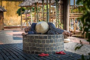 Hoi An, Vietnam, fruit, fruits, sellers, market, seller, local, people, traditional, hat, hats, sleeping, nap, woman