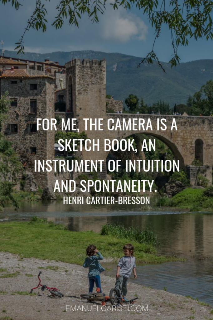 "Photography Quote - ""For me, the camera is a sketch book, an instrument of intuition and spontaneity."" Henri Cartier-Bresson"