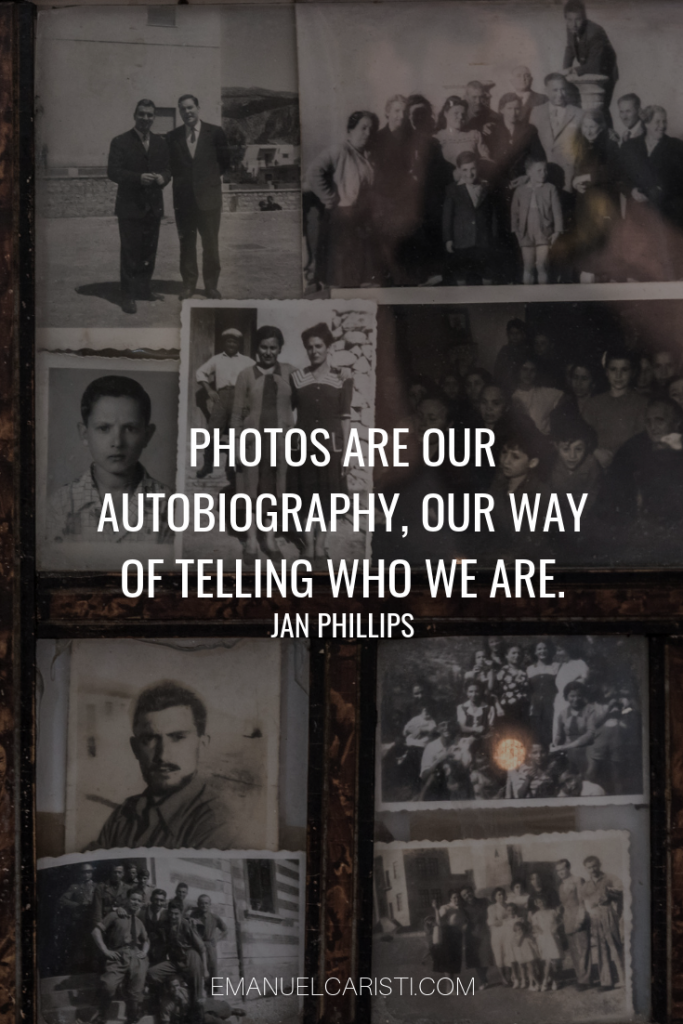 "Photography Quote - ""Photos are our autobiography a way of telling who we are"" Jan Phillips"